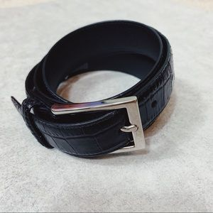 Brooks Brothers Leather Black Alligator Style Belt